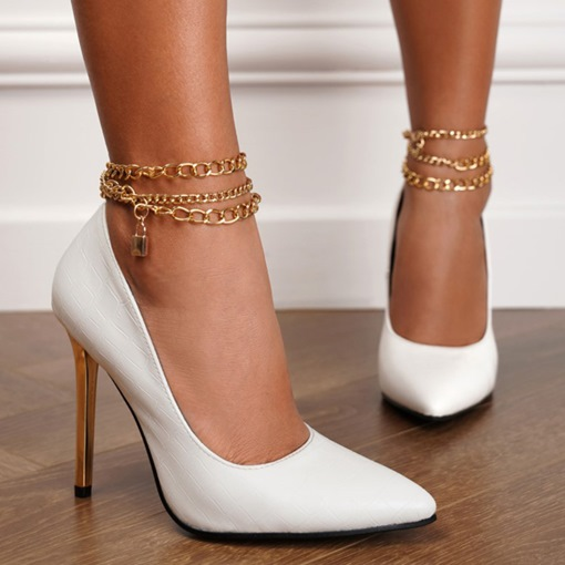 Chain Buckle Stiletto Heel Pointed Toe Plain Thin Shoes
