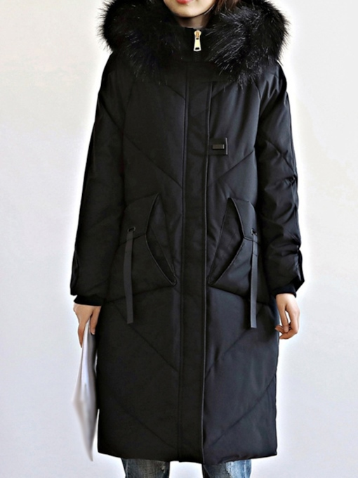 Pocket Single-Breasted Thick Slim Mid-Length Women's Cotton Padded Jacket