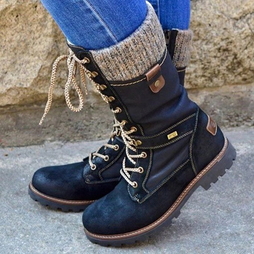 Side Zipper Patchwork Block Heel Round Toe Lace-Up Boots