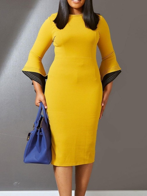 Mid-Calf Patchwork Nine Points Sleeve Round Neck Flare Sleeve Women's Dress