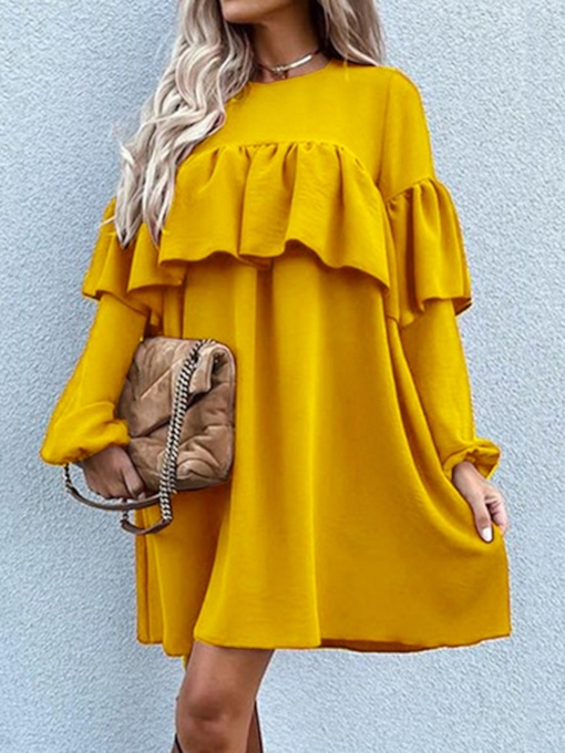 Long Sleeve Above Knee Round Neck Pullover Women's Dress