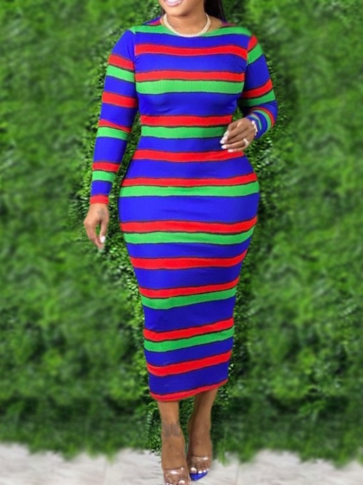 Plus Size Long Sleeve Mid-Calf Round Neck Office Lady Women's Dress