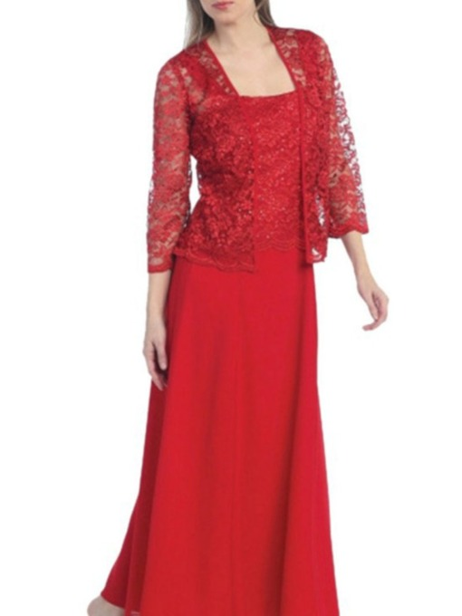 Lace Jacket Floor-Length A-Line Formal Mother of The Bride Dress 2021
