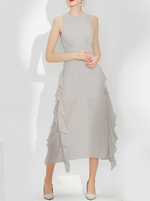 Ruffles Scoop A-Line Sleeveless Mother of The Bride Dress 2021