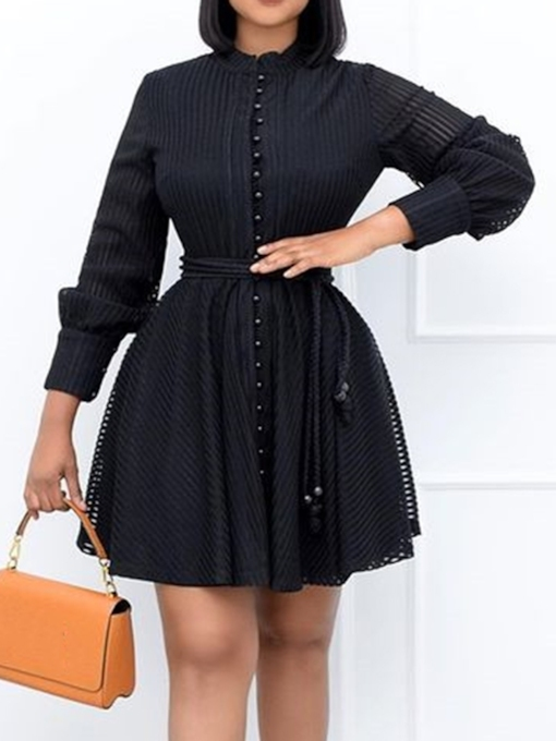 Stand Collar Above Knee Lace-Up Nine Points Sleeve A-Line Women's Dress