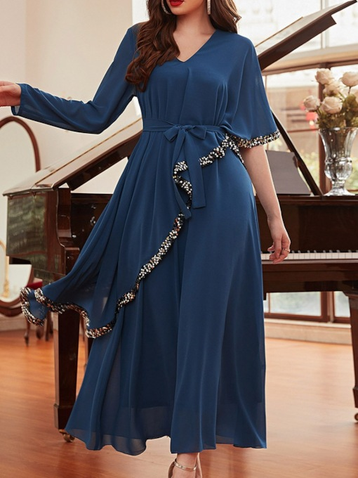 Sequins Ankle-Length Long Sleeves A-Line Mother of The Bride Dress 2021
