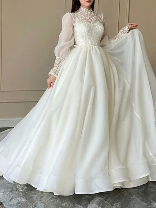 Ball Gown Long Sleeves Floor-Length Lace Hall Wedding Dress 2021