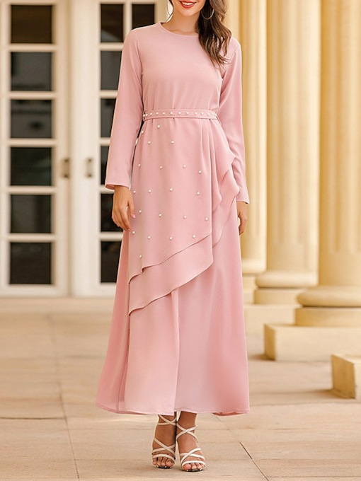 Long Sleeves Ankle-Length Scoop Ruffles Mother of The Bride Dress 2021