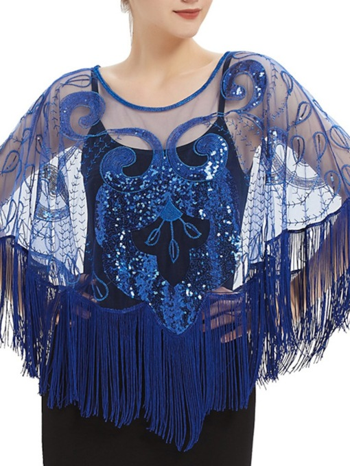 Tassels Sequins Long Sleeve Tulle Evening Party Shawl 2021