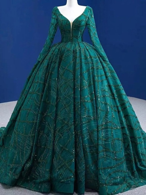Floor-Length Long Sleeves V-Neck Ball Gown Quinceanera Dress 2021
