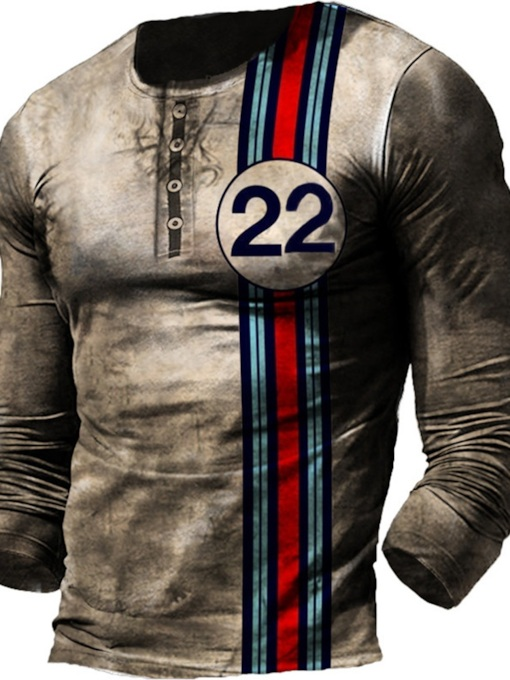 Round Neck Patchwork Casual Number Slim Men's T-shirt