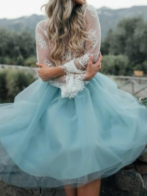 Lace Ball Gown Long Sleeves Tea-Length Homecoming Prom Dress 2021