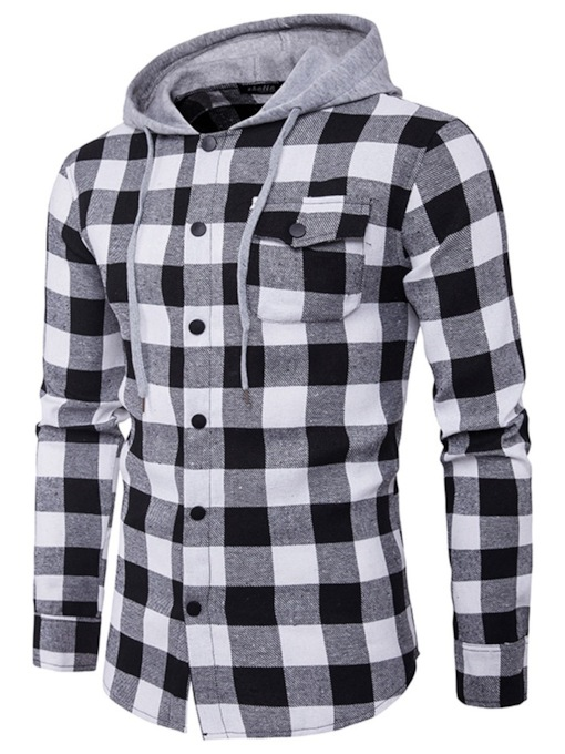 Casual Plaid Hooded Pocket Single-Breasted Men's Shirt