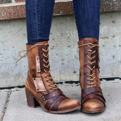 Chunky Heel Lace-Up Front Round Toe Patchwork Western Boots