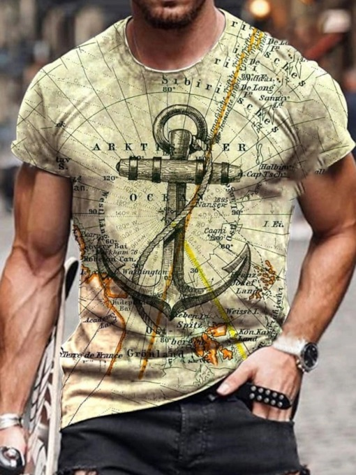 Pullover Casual Print Round Neck Short Sleeve Men's T-shirt