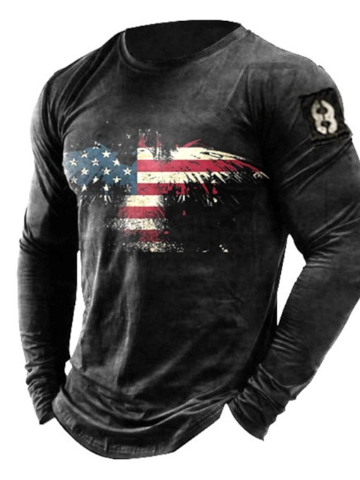 Patchwork Casual Round Neck Color Block Pullover Men's T-shirt