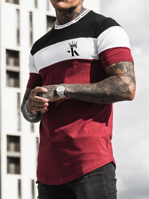 Round Neck Patchwork Color Block Casual Pullover Men's T-shirt