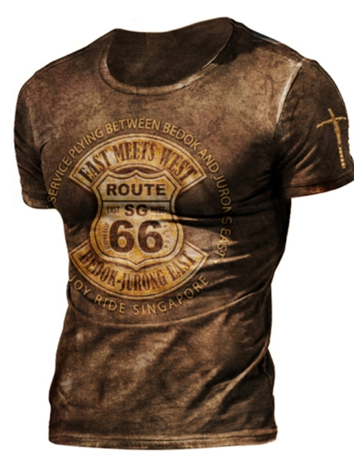 Fall Print Round Neck Casual Pullover Men's T-shirt
