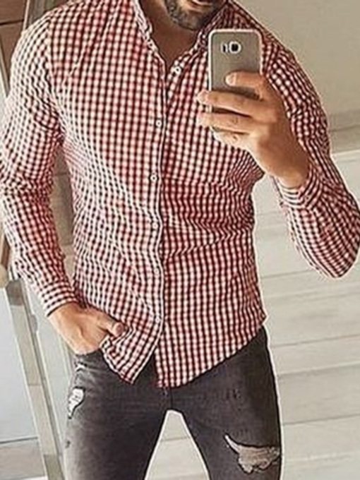Button Plaid OL Single-Breasted Men's Shirt