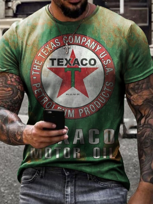 Print Round Neck Letter Casual Short Sleeve Fall Men's T-shirt