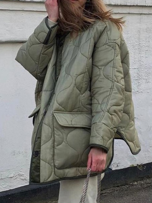 Loose Button Single-Breasted Mid-Length Women's Cotton Padded Jacket