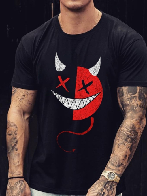 Slim Print Casual Round Neck Short Sleeves Pullover Men's T-shirt
