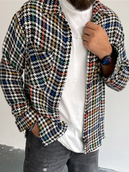 Print Lapel Houndstooth Thick Single-Breasted Men's Jacket
