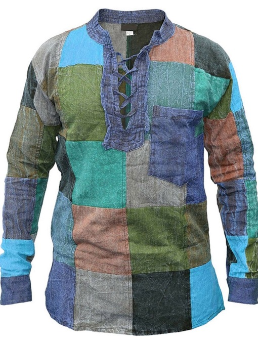 Casual Lace-Up Color Block Stand Collar Fall Men's Shirt