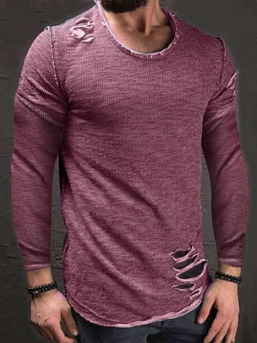 Plain Casual Hole Round Neck Pullover Men's T-shirt