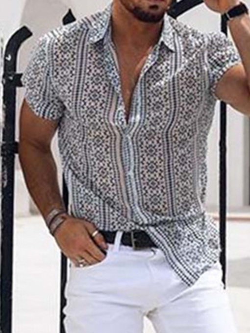 Geometric Casual Lapel Button Single-Breasted Men's Shirt