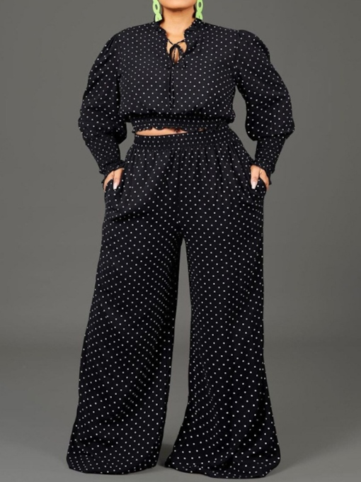 Plus Size Pocket Western Pants Polka Dots Pullover Women's Two Piece Sets