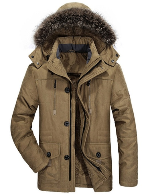 Double-Layer Pocket Standard Casual Men's Down Jacket
