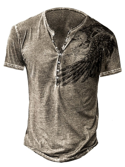 Round Neck Animal Patchwork Casual Short Sleeve Men's T-shirt