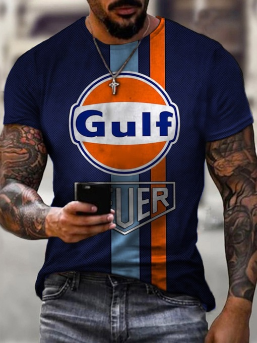 Fall Print Letter Casual Round Neck Pullover Men's T-shirt