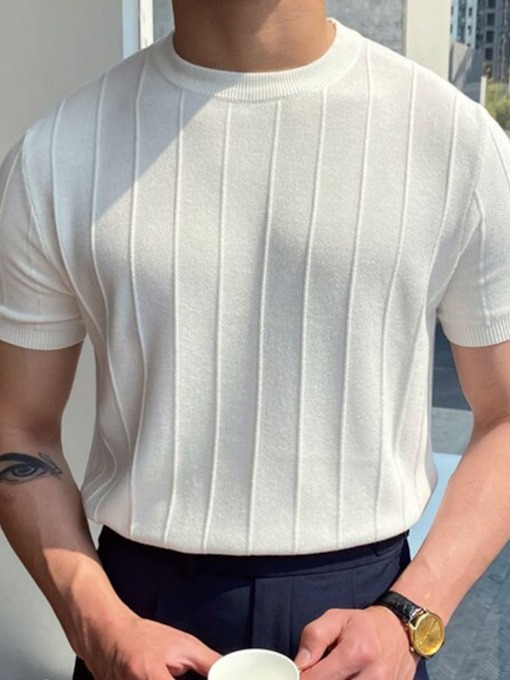 Fall Round Neck Plain Casual Pullover Men's T-shirt