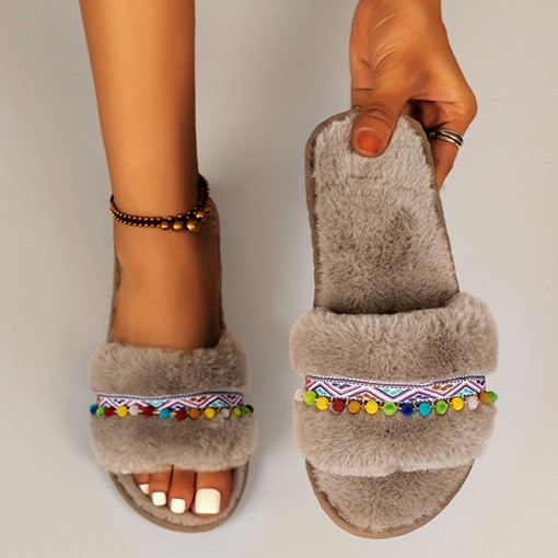 Pompon Flip Flop Flat With Slip-On Rubber Slippers