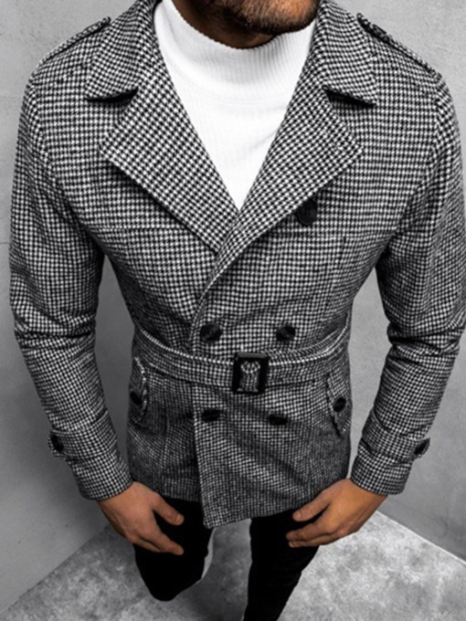 Houndstooth Lapel Mid-Length Double-Breasted Men's Coat