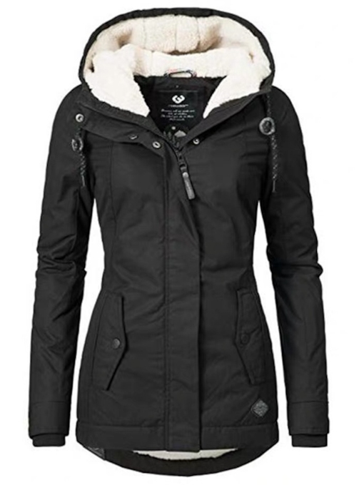 Single-Breasted Pocket Button Slim Mid-Length Women's Cotton Padded Jacket
