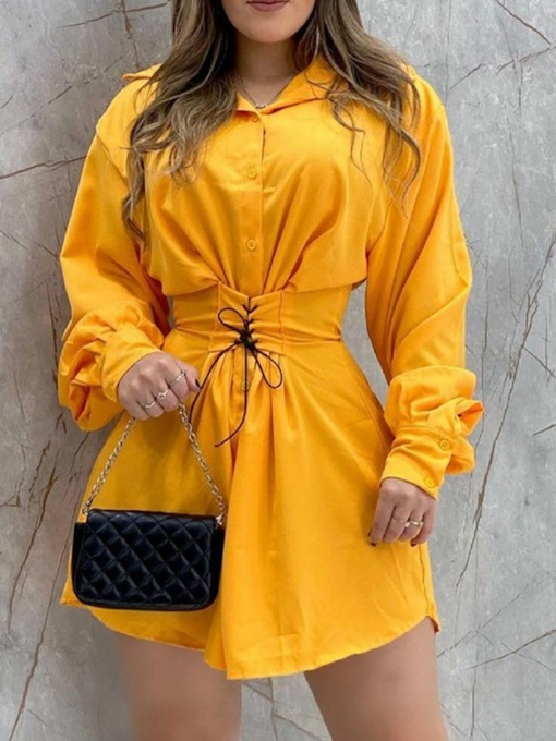 Fashion Long Sleeve Above Knee Button Single-Breasted Women's Dress