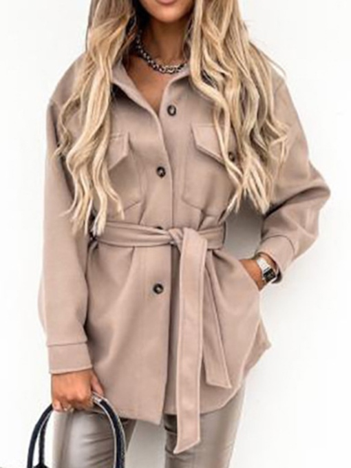 Single-Breasted Slim Button Mid-Length Women's Overcoat