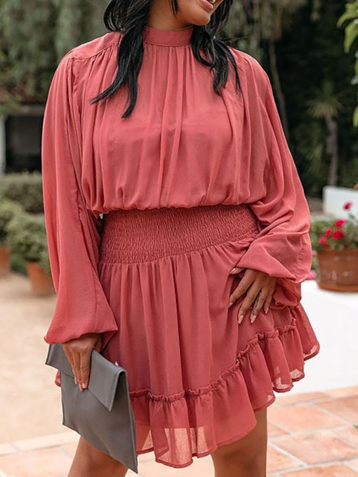 Long Sleeve Pleated Stand Collar Above Knee Fall Women's Dress