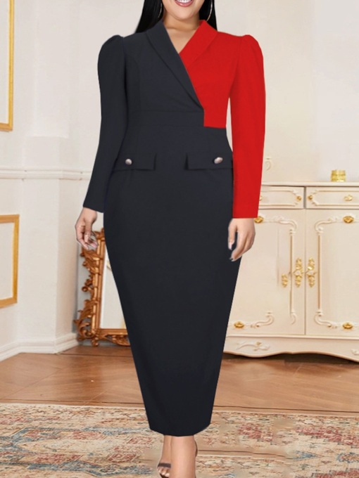 Ankle-Length Patchwork Long Sleeve Pullover Bodycon Women's Dress
