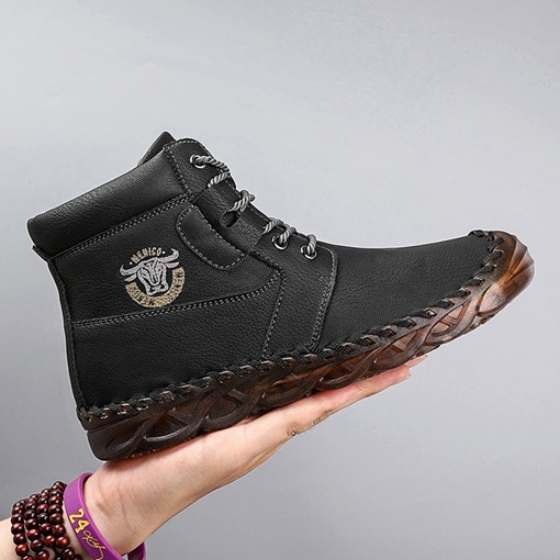 Lace-Up Front Plain Round Toe Flat With Boots