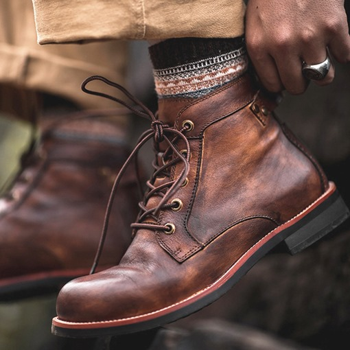 Lace-Up Front Round Toe PU Boots