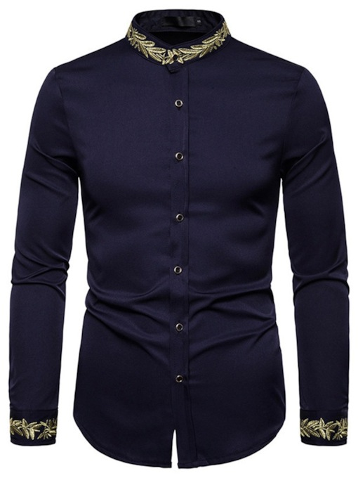 Casual Color Block Stand Collar Embroidery Slim Men's Shirt