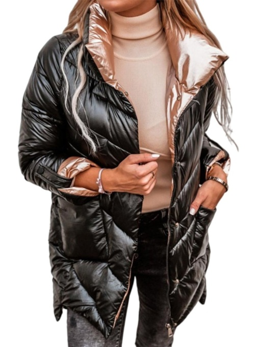 Straight Single-Breasted Button Mid-Length Women's Cotton Padded Jacket