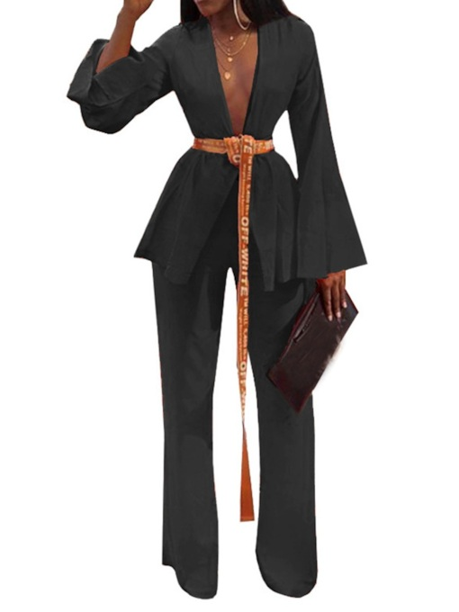 Plain Jacket Sexy Straight Women's Two Piece Sets