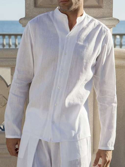 Stand Collar Casual Plain Single-Breasted Men's Shirt