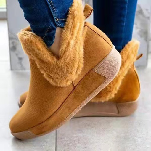 Flat With Slip-On Plain Round Toe Casual Boots
