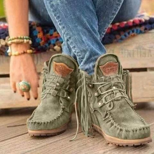 Round Toe Wedge Heel Lace-Up Front Western Boots